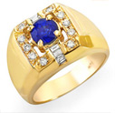 1.45 ct Ceylon blue Sapphire and diamond ring 14k gold